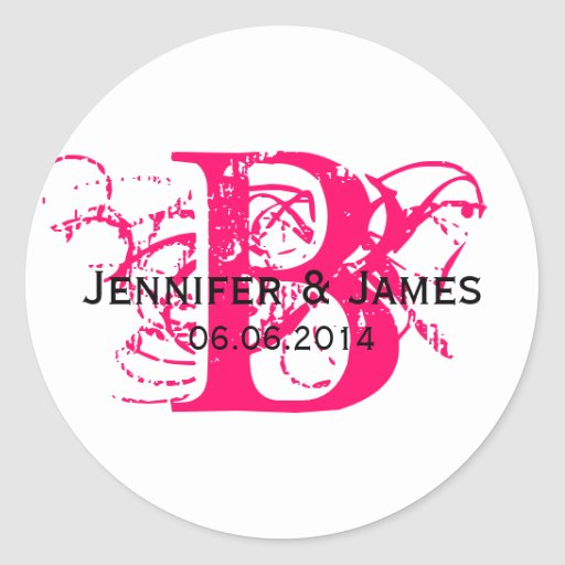 Custom Save the Date Initial Names Wedding Sticker