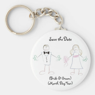 Custom Save the Date Keychain- Cartoon Couple Basic Round Button Key Ring
