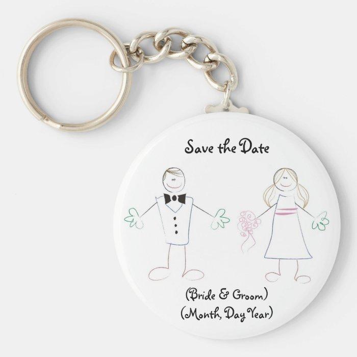 Custom Save the Date Keychain- Cartoon Couple Basic Round Button Key Ring