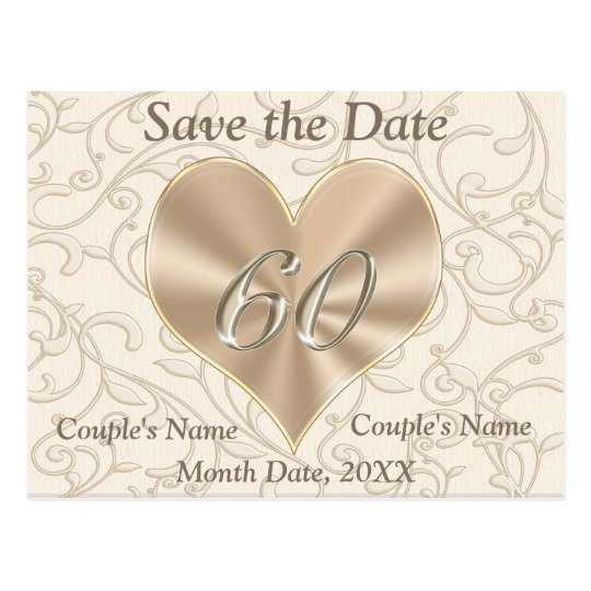 Custom Save the Date Post Card 60th Anniversary