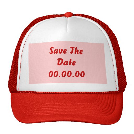 Custom, Save The Date. Red and Pink Mesh Hat