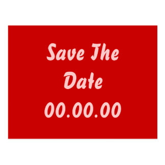 Custom, Save The Date. Red and Pink Postcard