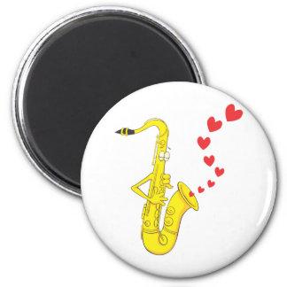 Custom Saxophone Serenading Love 6 Cm Round Magnet