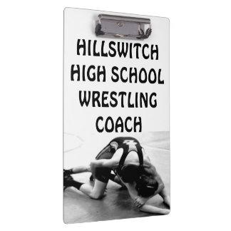 Custom School Wrestling Coach Clipboard