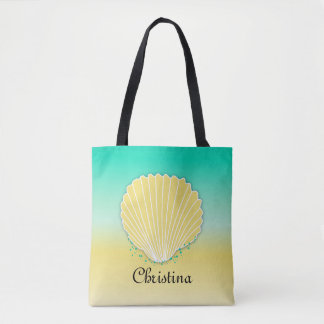 Custom Seashell Sand and Sea Tote Bag