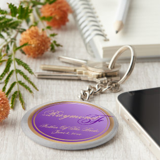 Custom Shades of Lavender Father of Bride Keepsake Key Ring