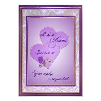 Custom Shades of Lavender Purple Wedding RSVP #2 9 Cm X 13 Cm Invitation Card