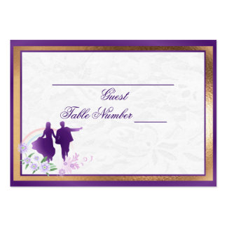 Custom Shades of Lavender Wedding Table Seating Business Cards