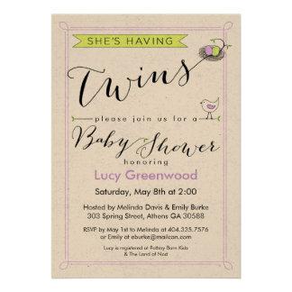 Custom She's Having Twins Baby Shower Invitation