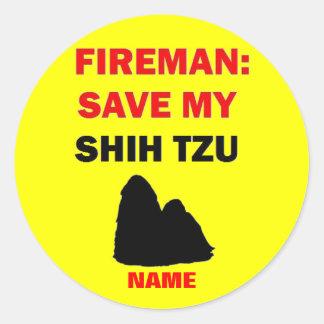Custom Shih Tzu Fire Safety Classic Round Sticker