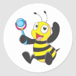 Custom Shirts : Baby with Rattle Bee Shirts Round Stickers
