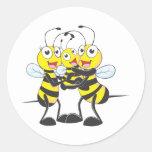 Custom Shirts : Happy Dad Mum Baby Bee Shirts Round Stickers