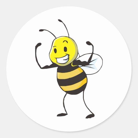 Custom Shirts : Strong Muscular Bee Shirts Classic Round Sticker