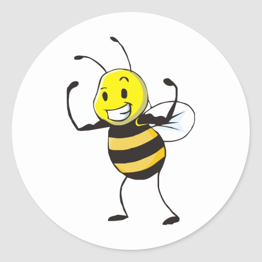 Custom Shirts : Strong Muscular Bee Shirts Round Sticker