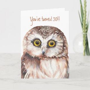 Custom Shocked Funny Little Owl 30th Birthday Card