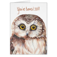 Custom Shocked Funny-Little Owl, 30th Card Birthday Card