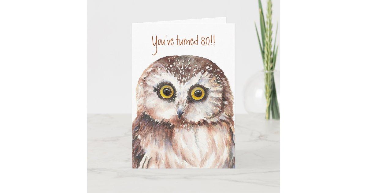 Custom Shocked Funny Little Owl 80th Birthday Card