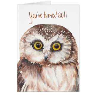 Custom Shocked Funny-Little Owl, 80th Birthday Card