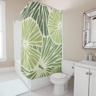 Custom Shower Curtain/ Green leaf-flower print Shower Curtain