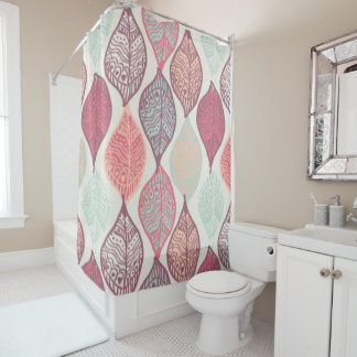 Custom Shower Curtain/ leaf print, pastel colors Shower Curtain