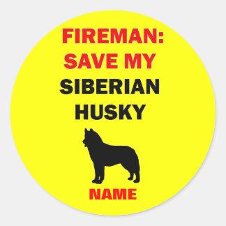 Custom Siberian Husky Fire Safety Classic Round Sticker