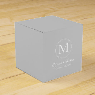 Custom Silver Colored Monogram Favor Boxes