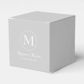 Custom Silver Colored Monogram Favor Boxes Party Favour Boxes