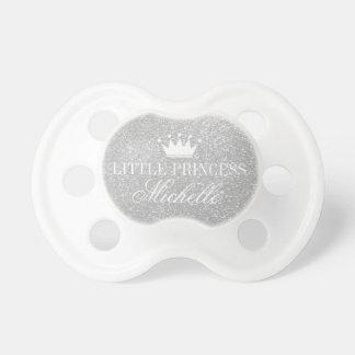 Custom silver glitter print princess crown dummy