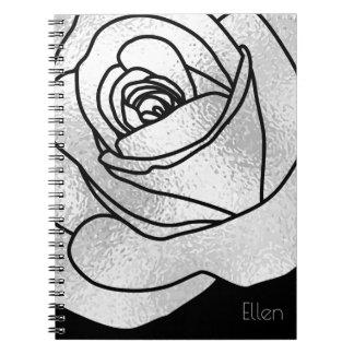 Custom Silver Rose Notebooks