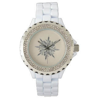 Custom Silver Wrap Around Beige Snowflake Watch