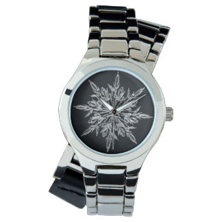 Custom Silver Wrap Around Black Snowflake Watch
