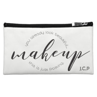 Custom, Simple • Makeup, script, monogram, Makeup Bag