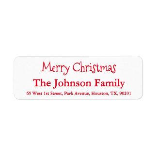 Custom Simple Merry Christmas Family Name Script Return Address Label