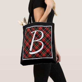 Custom Simple Red Yellow Black Tartan Pattern Tote Bag
