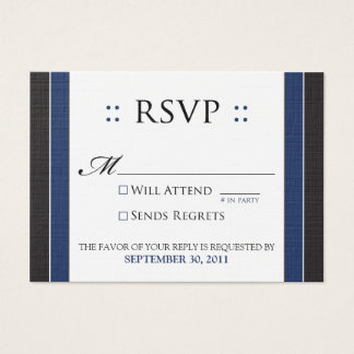 "::custom:: Simply Elegant 3.5x2.5"" Black/Navy RSVP Business Card"