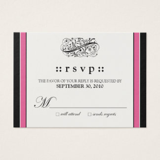 "::custom:: Simply Elegant 3.5x2.5"" Fuschia RSVP Business Card"