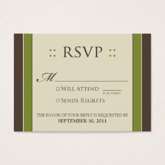 "::custom:: Simply Elegant 3.5x2.5"" Moss RSVP Business Card"