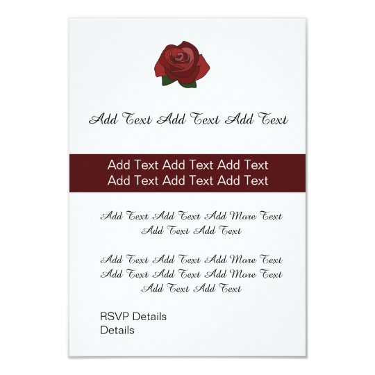Custom Single Red Rose Wedding or Party Invite