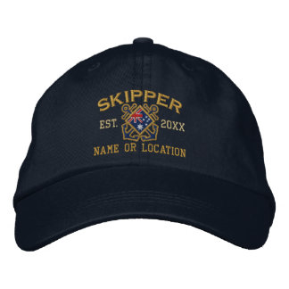 Custom Skipper Australian Flag Crossed Anchors Embroidered Hat