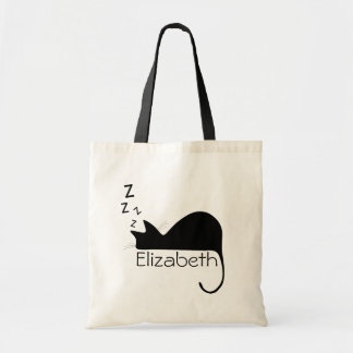 Custom Sleeping Cat Silhouette Tote Bag