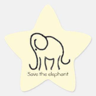 Custom Slogan Linear Elephant Logo Star Sticker