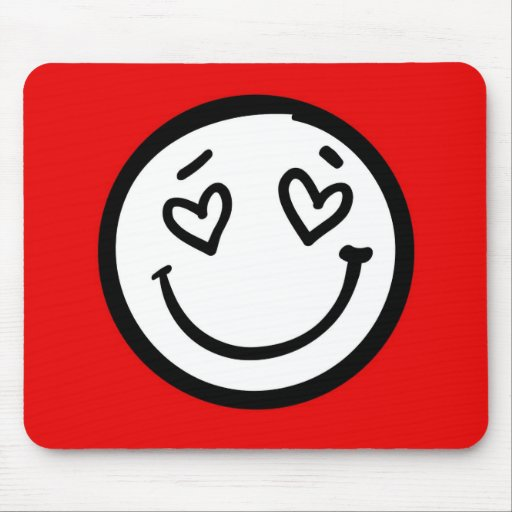 Custom Smiley Face on Red Background Mouse Pads