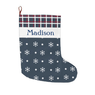 Custom Snowflakes and Blue and Red Plaid Large Christmas Stocking