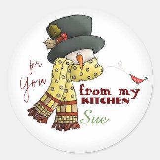 Custom Snowman Baking Stickers
