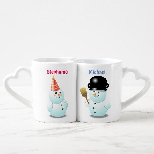 Custom Snowman Couple Cartoon Coffee Mug Set