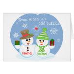 Custom Snowman Sweethearts Christmas Card.
