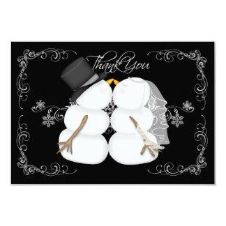 Custom Snowman Winter Wedding Thank You Cards