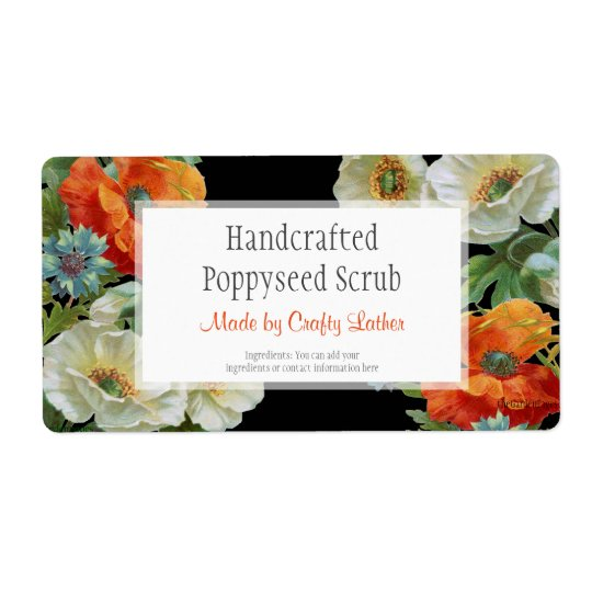 Custom Soap or Craft Poppy Cornflowers Labels