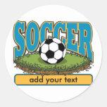 Custom Soccer Add Text Round Sticker