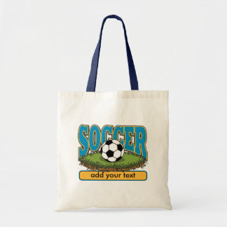 Custom Soccer Add Text Tote Bag